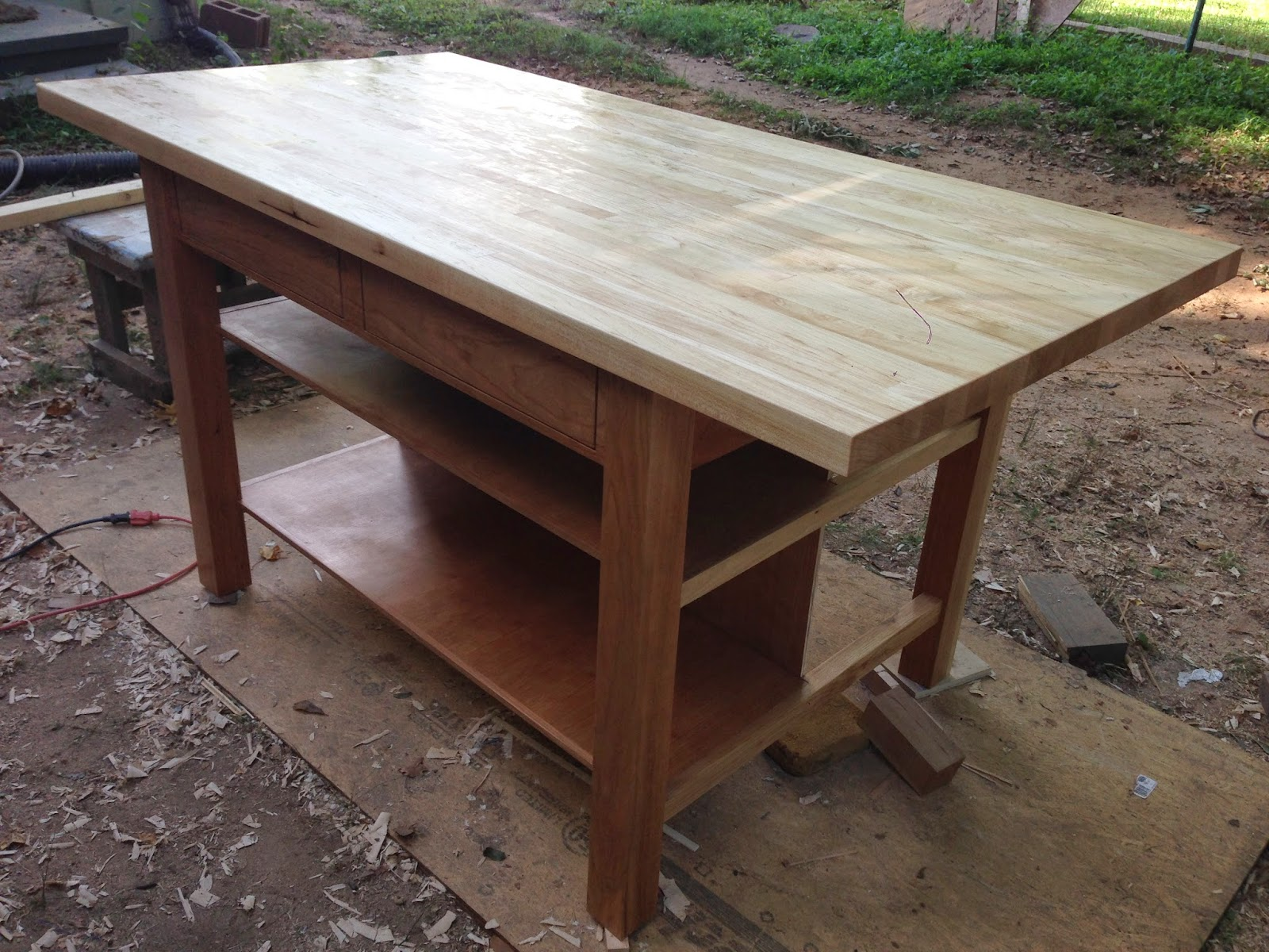 Cherry And Maple Kitchen Island