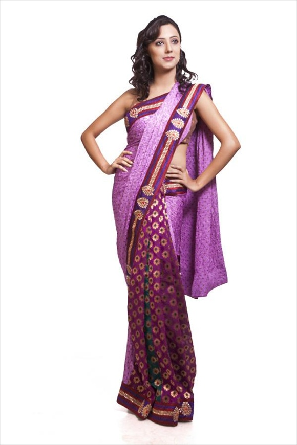 Light Orchid Art Crepe Net Saree