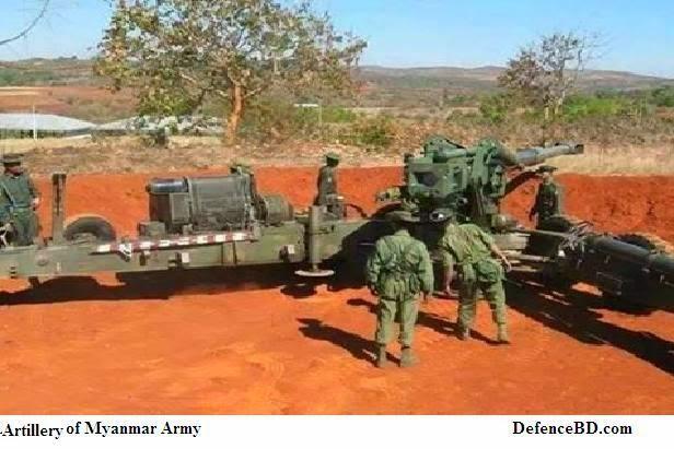 Myanmar Deployed artillery in the Myanmar-Bangladesh Border