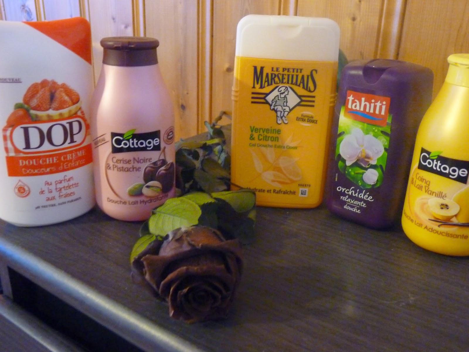 Dop, douche crème, tarte au fraise, gourmand, saveur enfance, cottage, cerise pistache, rose, cerise noire, le petit marseillais, veirveine citron, tahiti orchidée, cottage, lait vanillé, vanille, lait de douche, coing