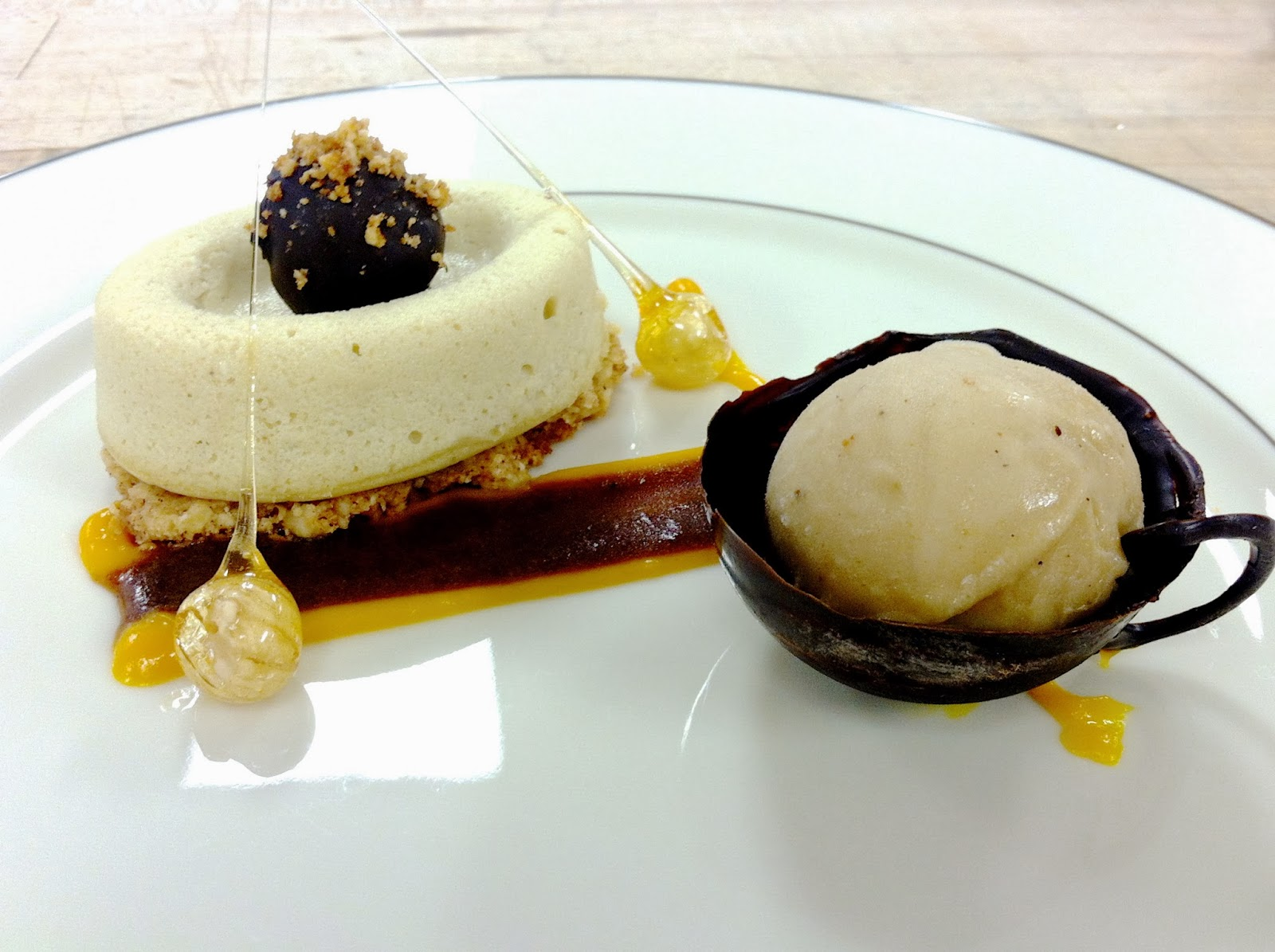 Mocha cheesecake, hazelnut crust, banana's foster sorbet in a ...