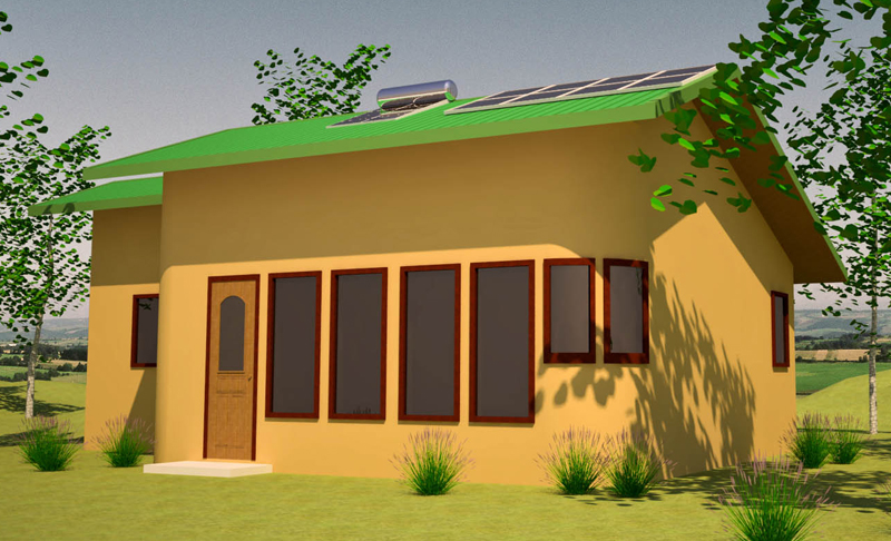 Home plan solar cabin home plan for Solar cottage plans