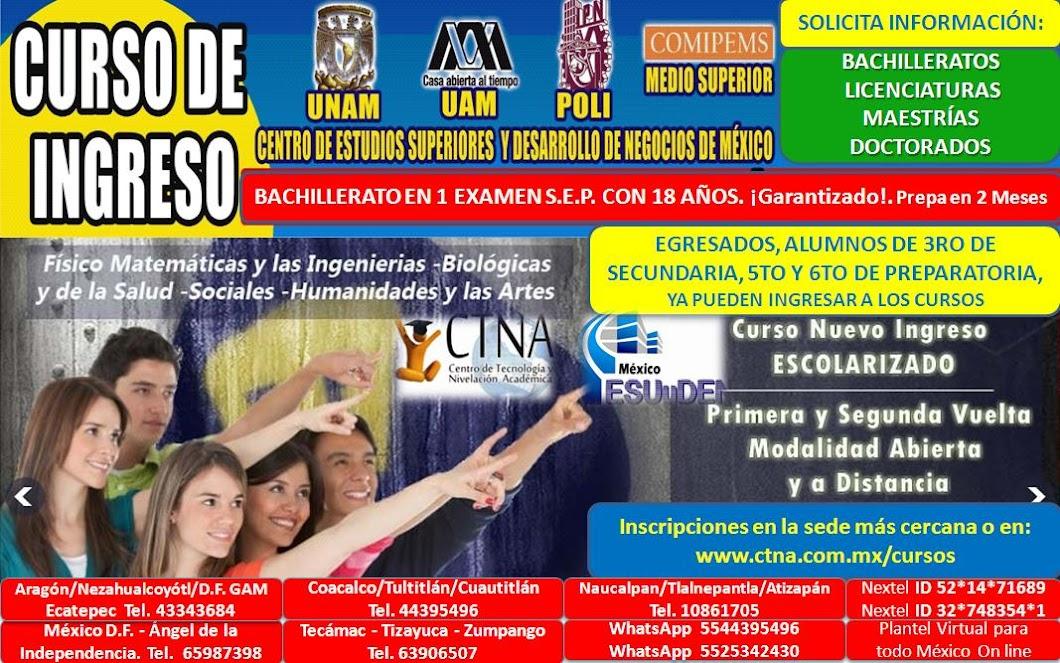 Curso Comipems 2016, Cursos de preparación para ingreso IPN 2016, UNAM , UAM, Prepas, Bachilleratos