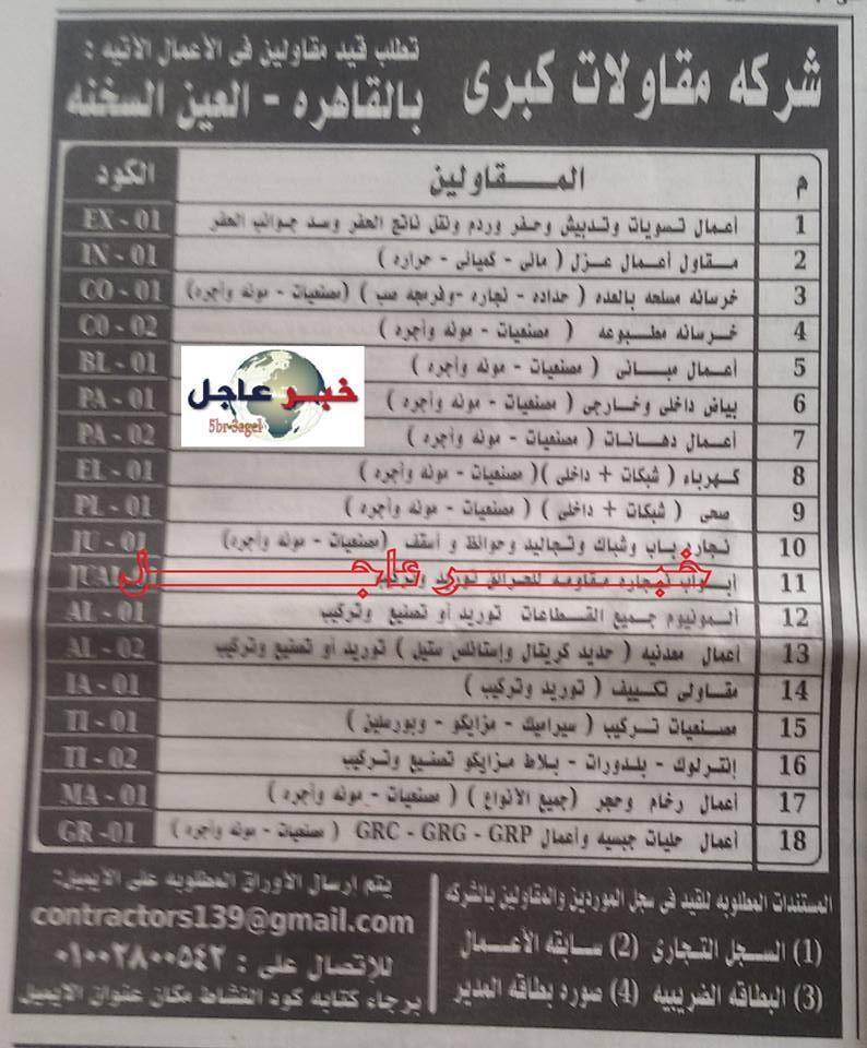 وظائف لشركة مقاولات كبرى للتعيين فوراً منشور بجريدة الأهرام 11 / 9 / 2015