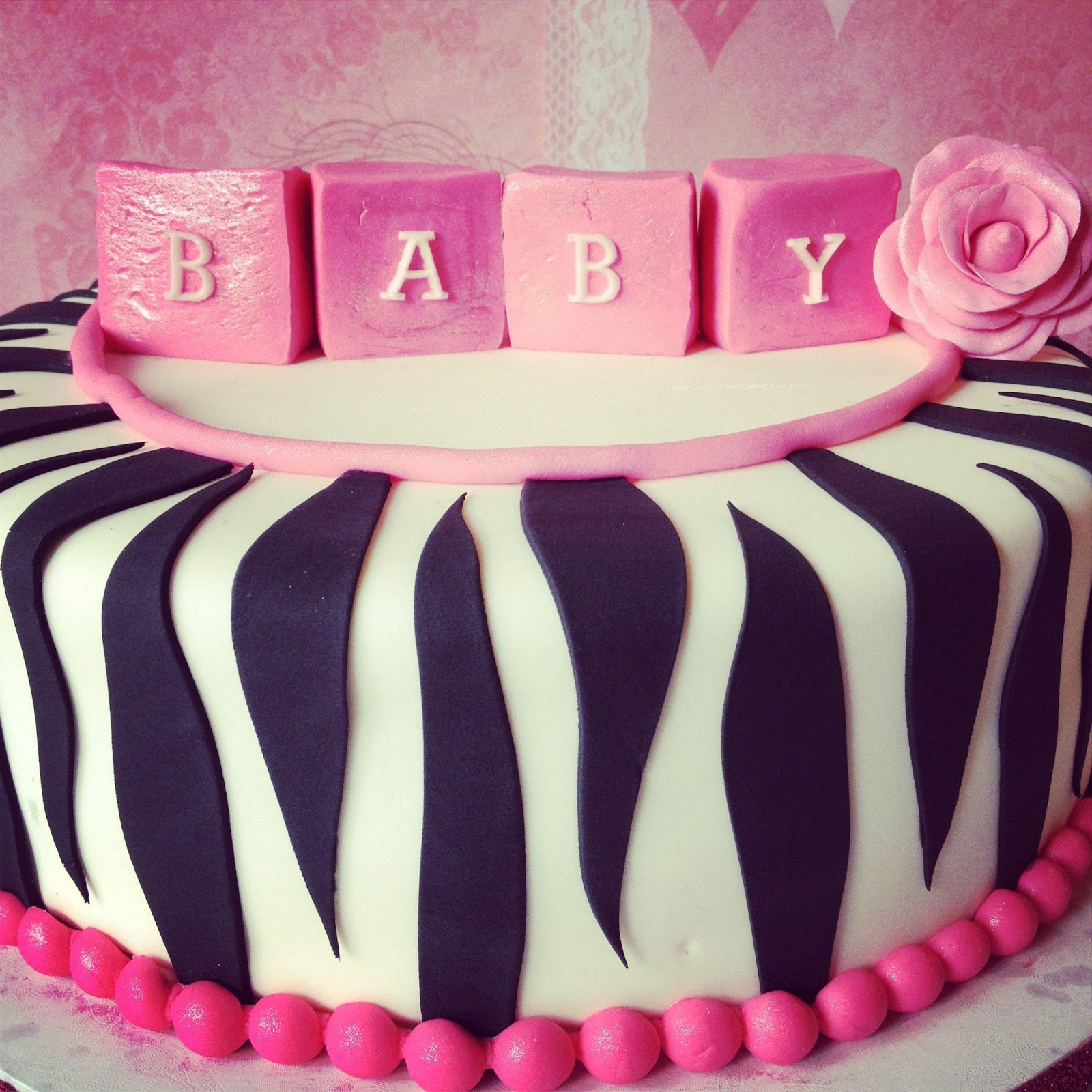 the frosted cake boutique pink zebra baby shower cake