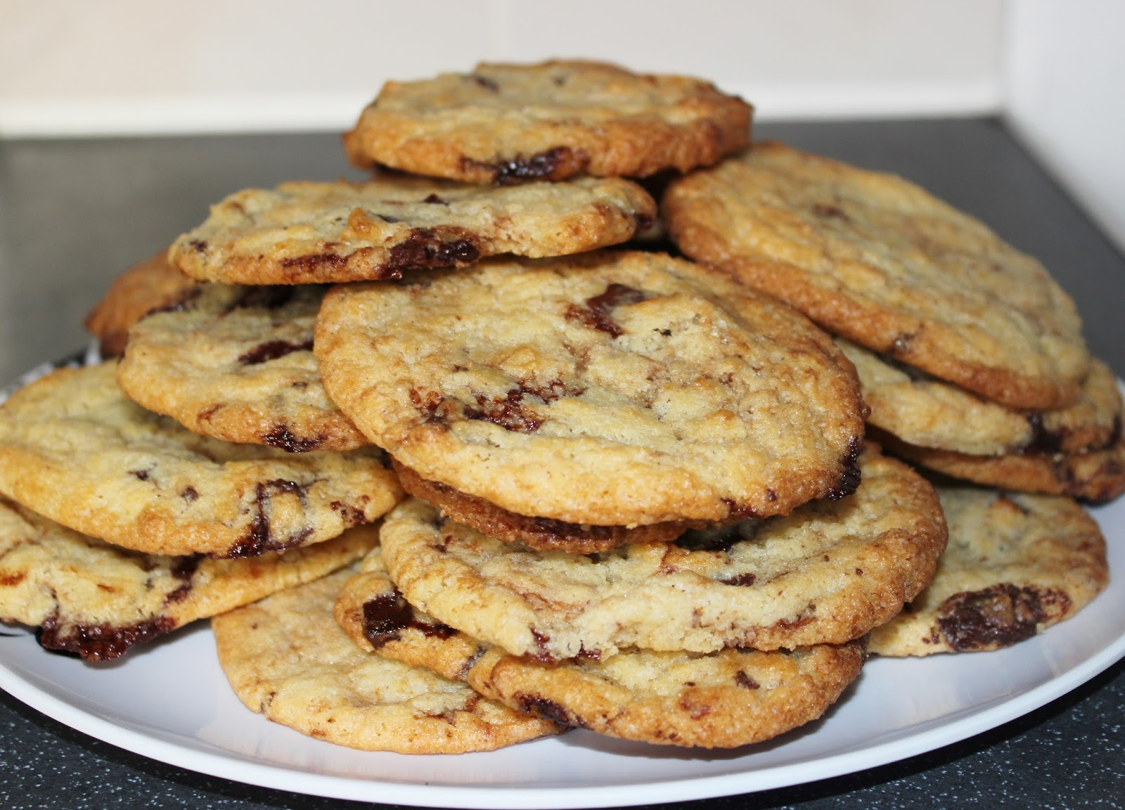 american style chocolate chip cookies fresh out the oven
