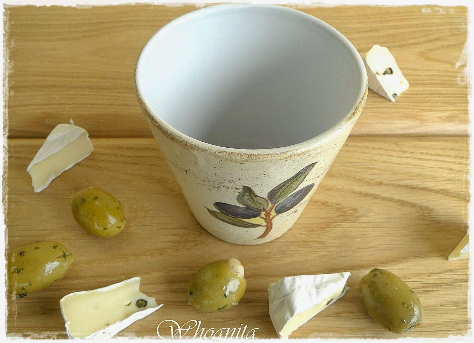 naczynie na oliwki, decoupage
