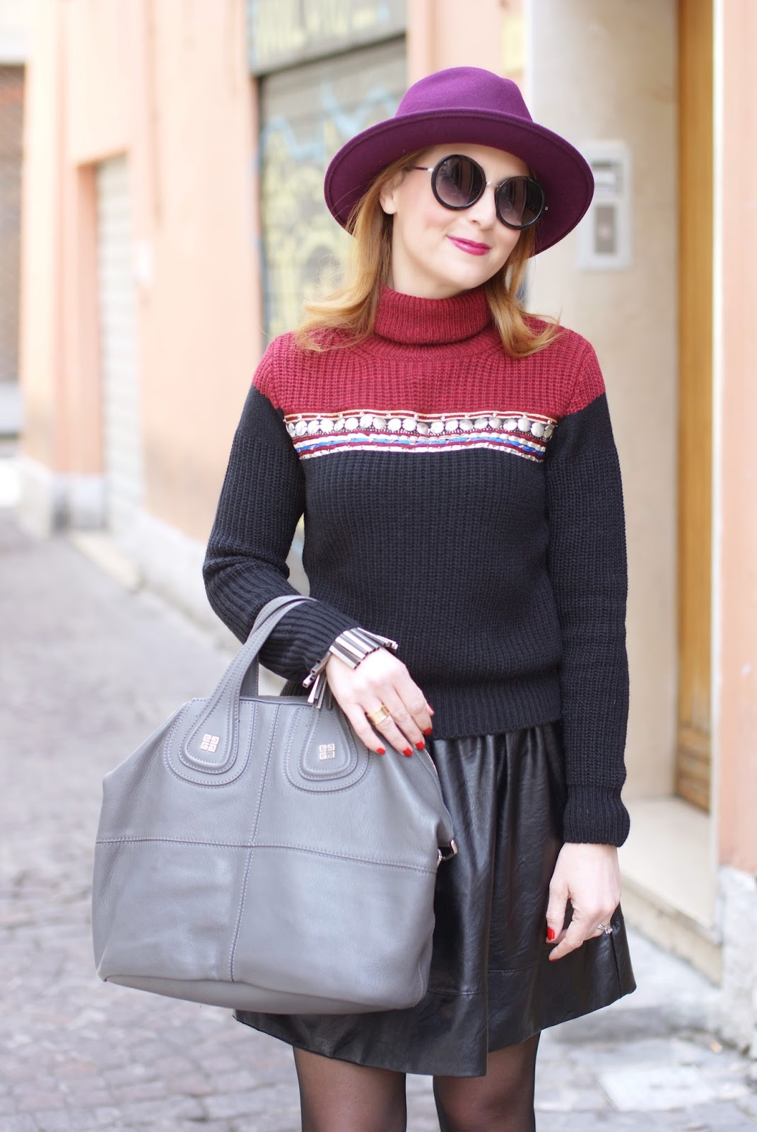 Eco-leather mini circle skirt, ribbed knit turtleneck sweater, Givenchy Nightingale bag, Fashion and Cookies, fashion blogger