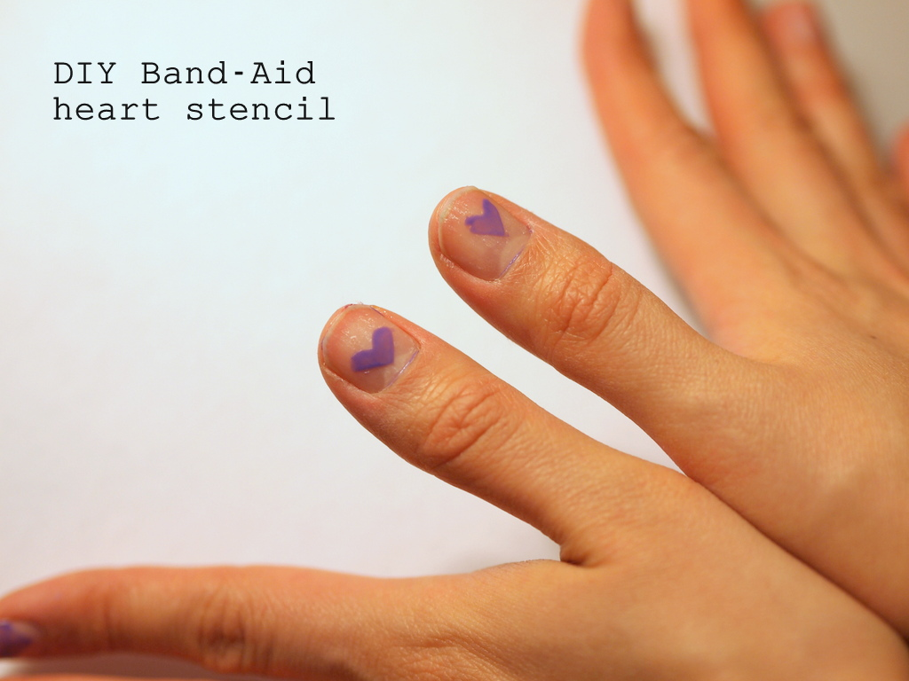 DIY Band Aid Heart Nail Stencil