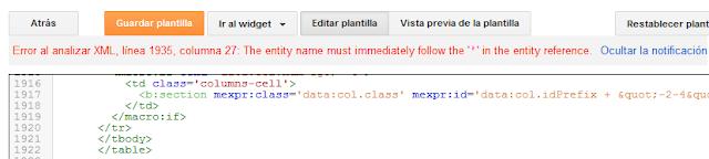 ¿Solución error de análisis en el XML de la plantilla de Blogger? Error al analizar XML ( ' )