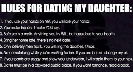 "rules for dating my daughter from a mother It was a humorous take on the ""rules for dating my daughter""  i wrote about these ridiculous rules from a viewpoint of a mother of a son who was given the ."