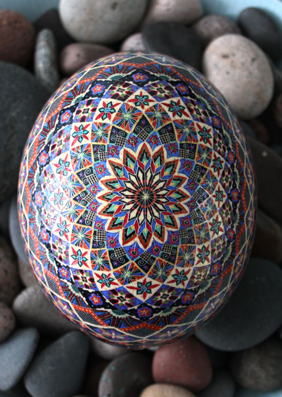 Traditional Eight Pointed Star Motif Ukrainian Egg Pysanka in Blue, Green, Red, Purple, Scarlet, White and Black
