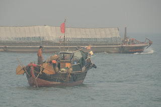 Fishing boats in the Pearl River estuary in China