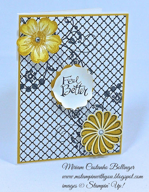 "Miriam Castanho Bollinger, #mstampinwithyou, stampin up, demonstrator, ppa, get well, modern medley, flowering flourishes, crazy about you, sassy salutations, pansy punch, label bracket punch, 1-3/4"" scallop punch, su"