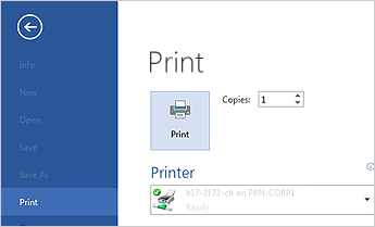 print a document in Microsoft Word 2013