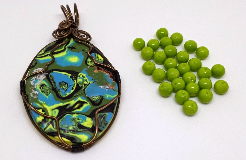 Beed Peeps Swap 'n Hop ~ polymer clay cab, wire wrapping, copper :: All Pretty Things