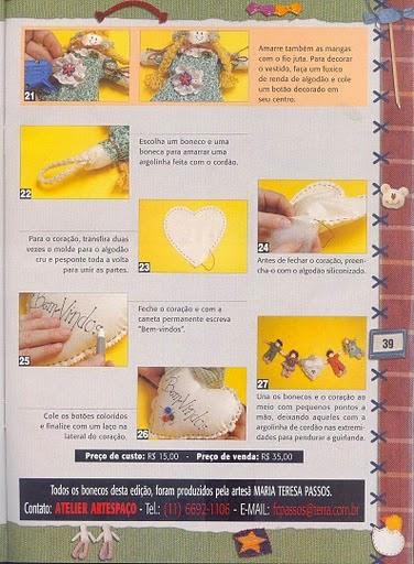 Bonequinhos de tecido para decoração com moldes