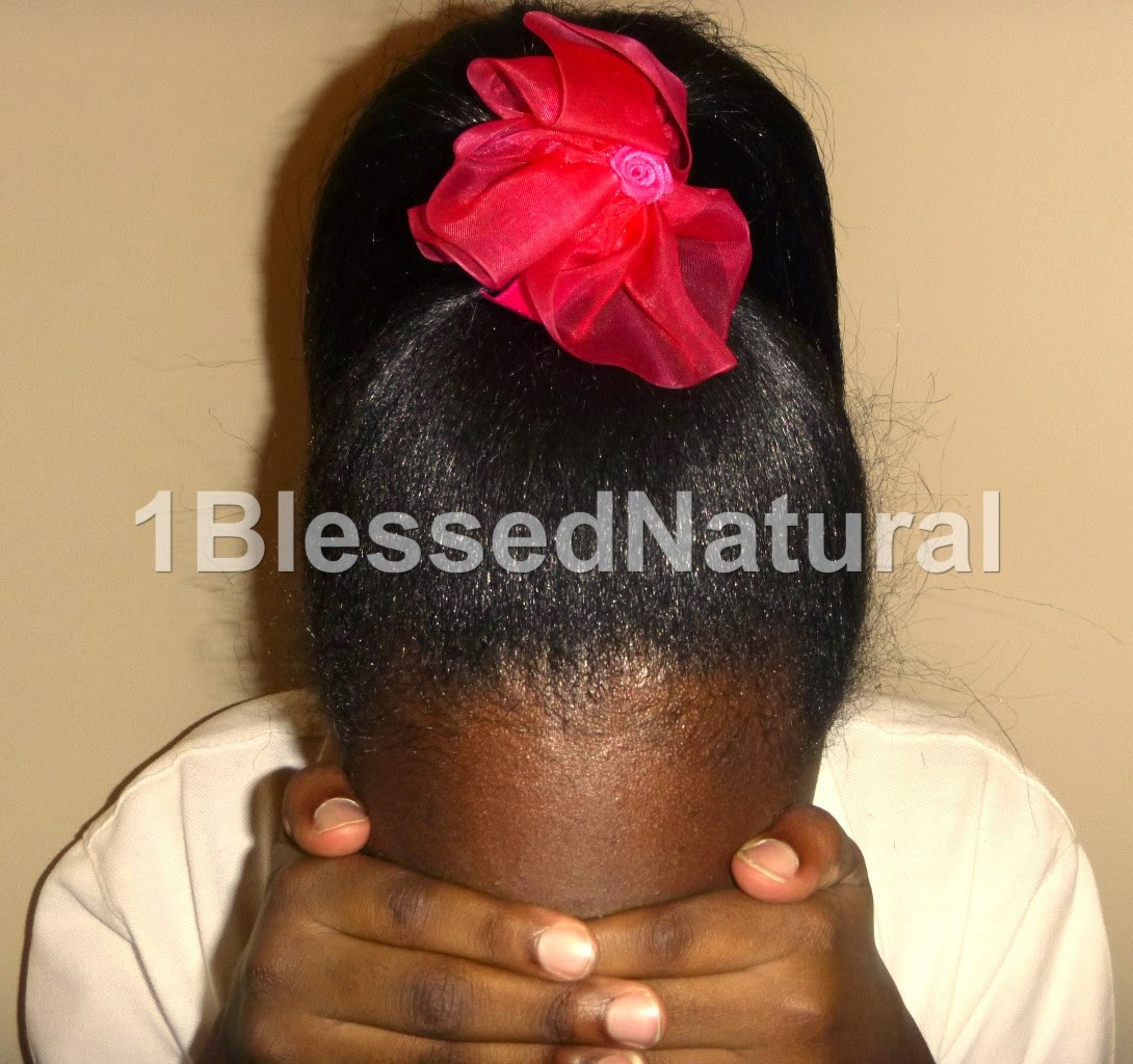 Copyright 2015-1BlessedNatural kids flowered ponytail style-front view