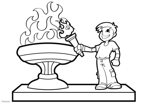 kids coloring pages carry Olympic torch title=