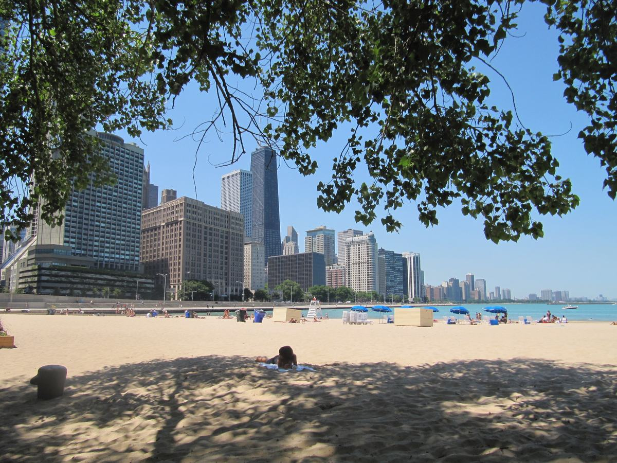 Olive Park Beach, Ohio Street Beach, playas de Chicago, chicago beaches, lakefront view
