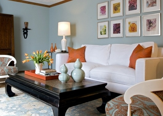 Living Rooms with Orange and Blue