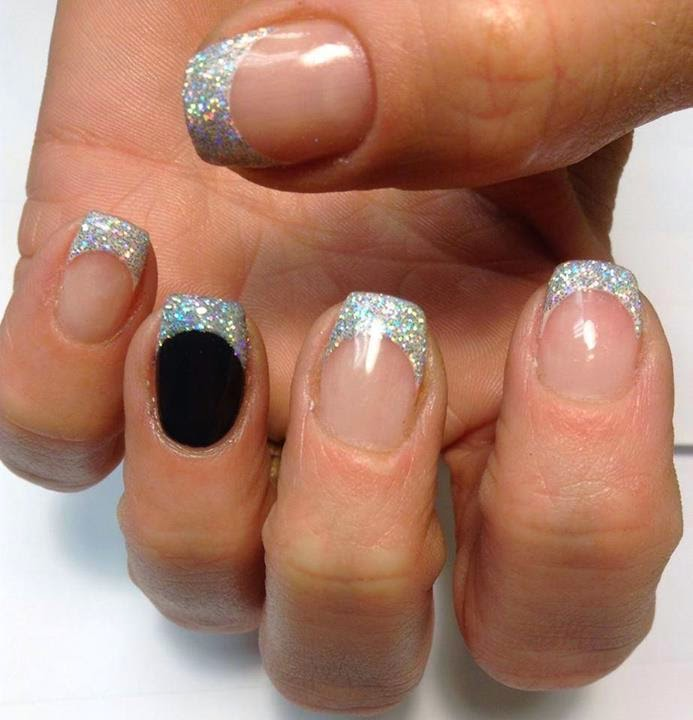 acrylic overlay with tapped in holo silver glitz Frenchies with abyss black feats-LED-polish-manicure-natural-nails-classic-French-acrylics-simple-nail-art-acrylic-gelish-gel-Nail-Polish-OPI-Lacquer-Pedicure-care-LED-polish-manicure-natural-nails-classic-French-pink-crystal-acrylics-simple-nail-art-acrylic-backfill-gelish-colour-pink-silver-gel-OPI-Lacquer-Pedicure-care-natural-healthcare-Gel-Nail-Polish-beauty-nails-Nail-Art-USA-UK