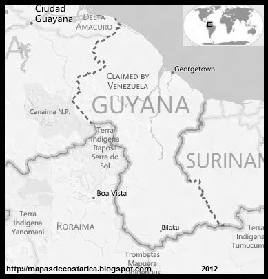 Mapa de GUYANA, BING, blanco y negro