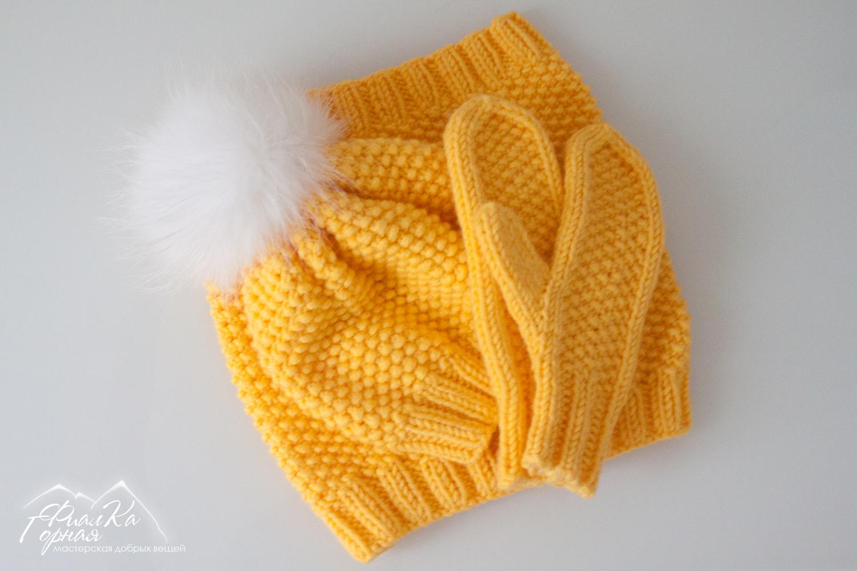 Вязание варежек спицами жемчужной вязкой