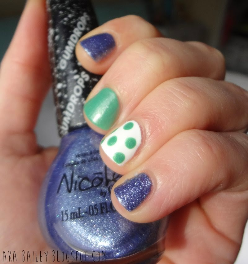 Blue-Berry Sweet on You, Gumdrops, Nicole by OPI, Mint Polka Dot accent nail