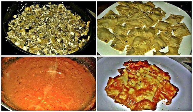 Preparación de los raviolis frescos rellenos de champiñones y queso feta