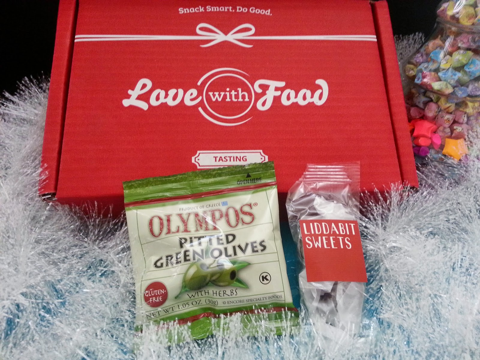 Olympos Pitted Green Olives and Liddabit Sweets Dark Chocolate Sea Salt Caramels