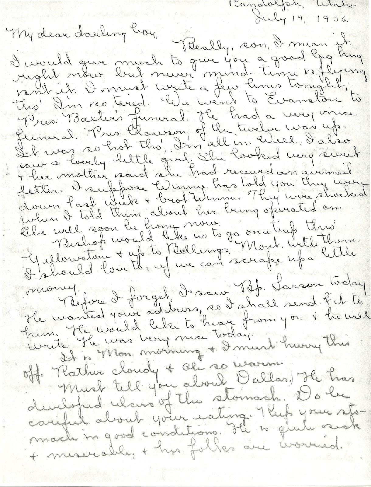 letter written by bessie