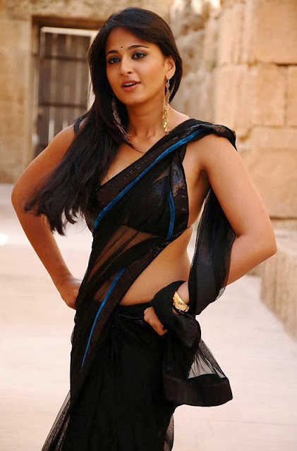 Anushka Shetty in Single String Blouse and Black Transparent Saree