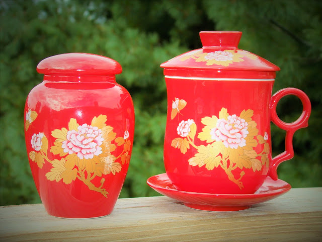 Red Chinese Tea Set