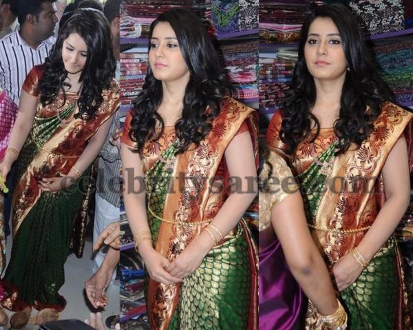 Rashi Khanna Green Kanjivaram Saree