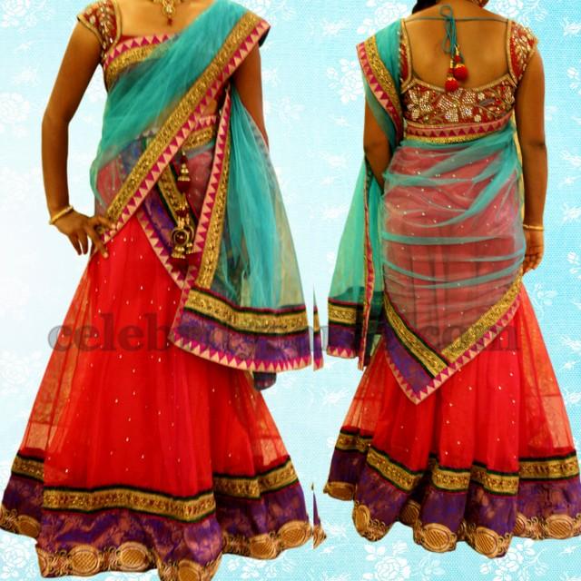 Red and Blue Net Half Saree