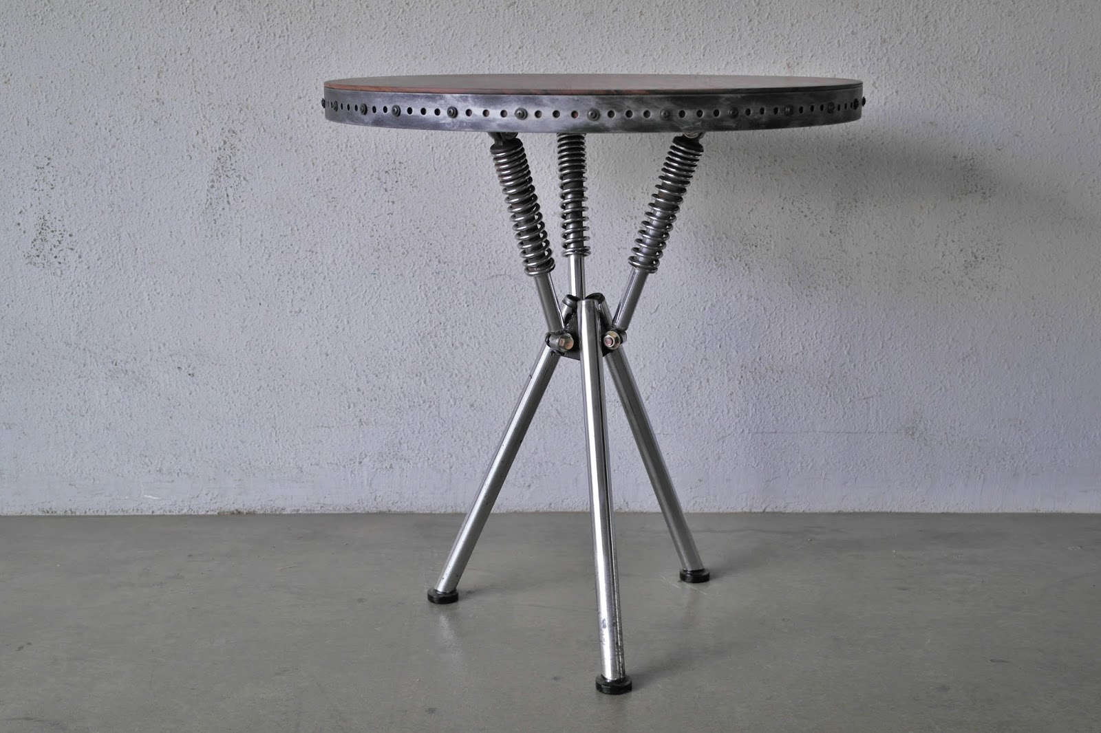 REPURPOSED ART COFFEE TABLES AND DINING TABLES FROM MOTORCYCLE - Restaurant table base parts