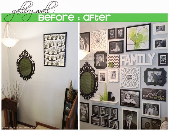 before photos of gallery wall area, after photo of gallery wall, black and white gallery