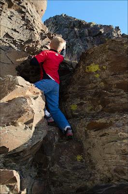 Climbing basalt.