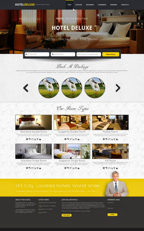Hotel Deluxe Website PSD