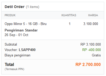 Harga Oppo Mirror 5 September 2015
