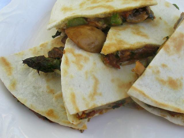 Roasted Asparagus and Mushroom Quesadillas