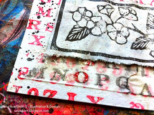 "detail of ""Blossoming"" ATC by Martice Smith II"