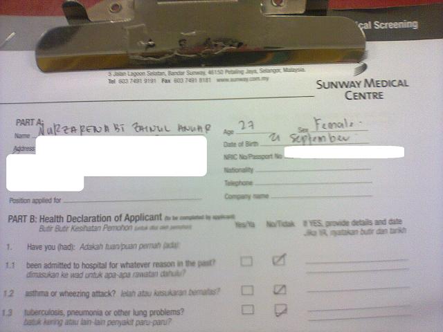 Kau tercipta untukku medical check up sunway for Registrator health check
