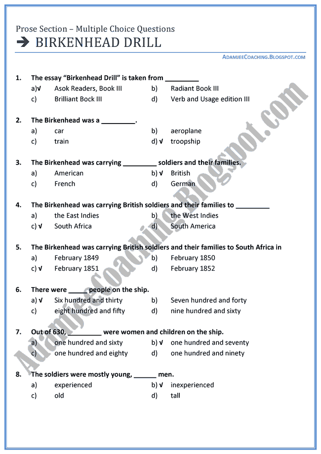 English-XI-Birkenhead-Drill-Mcqs