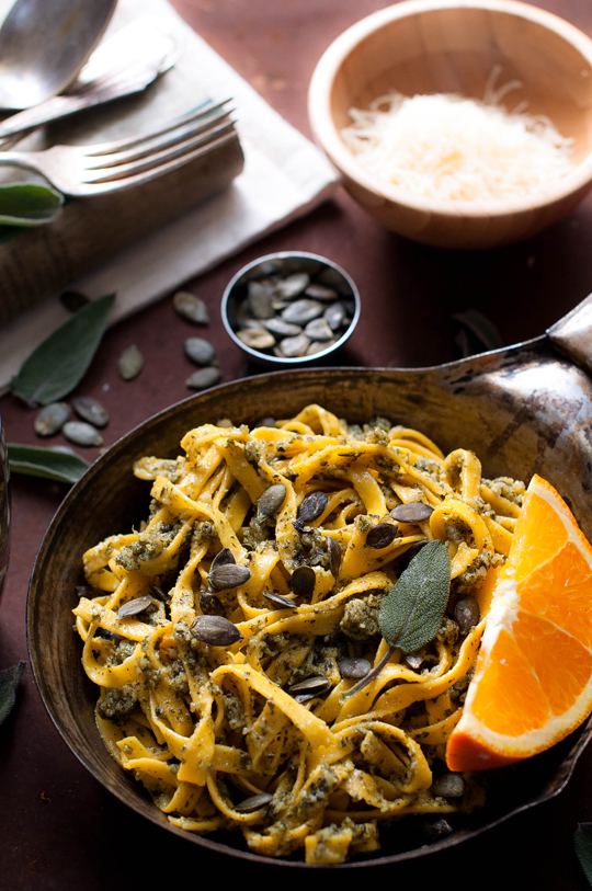 Pumpkin tagliatelle with pumpkin seed pesto