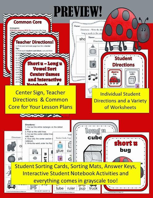 Fern's Freebie Friday ~ Vowel Sorting  Center Games for Short u & Long u including Interactive Notebook Activities at TeacherspayTeachers, TpT.