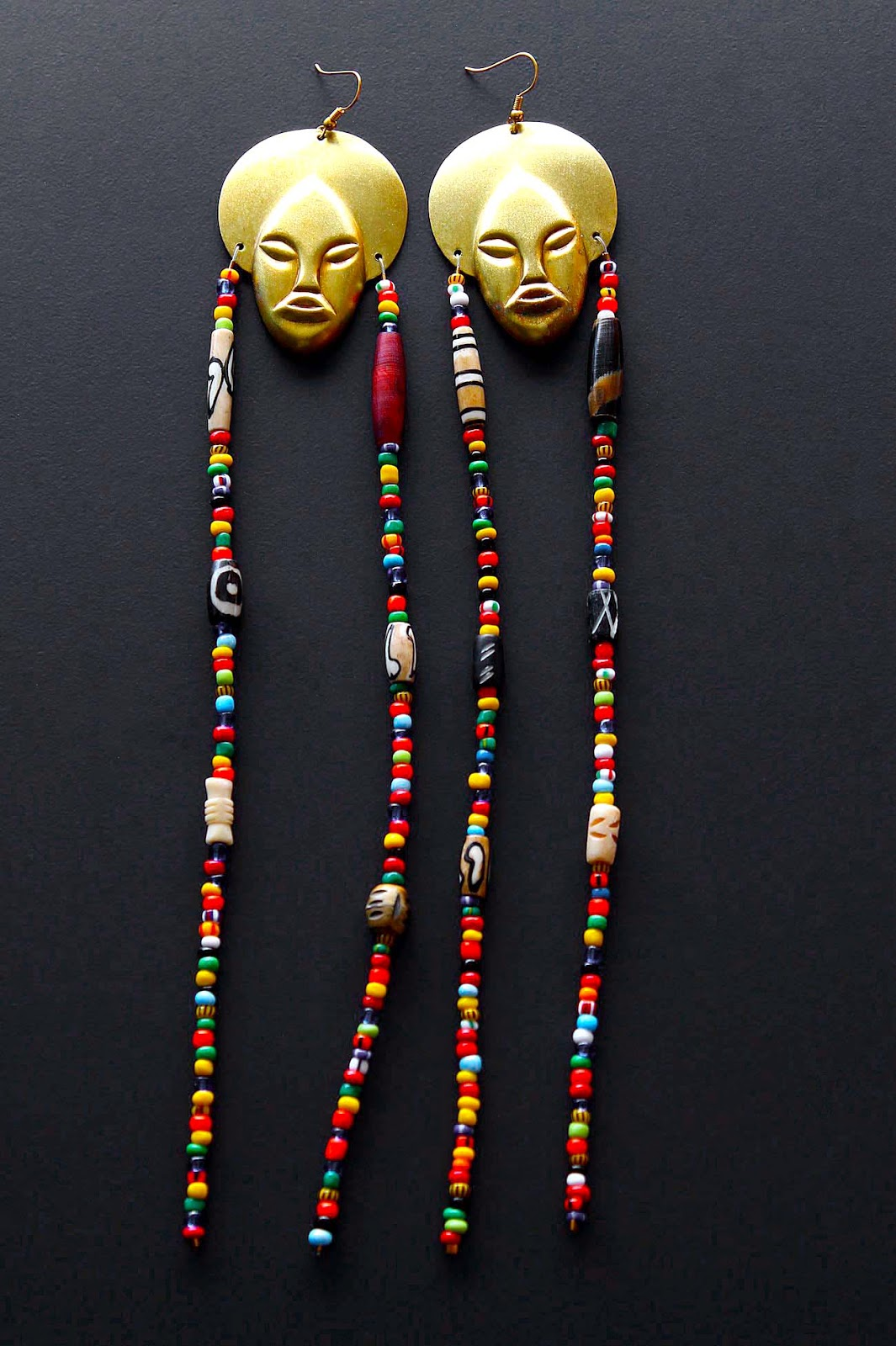 african beaded brass earrings