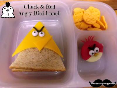 Angry Birds Go Chuck Chuck - pb&j sandwich cut into
