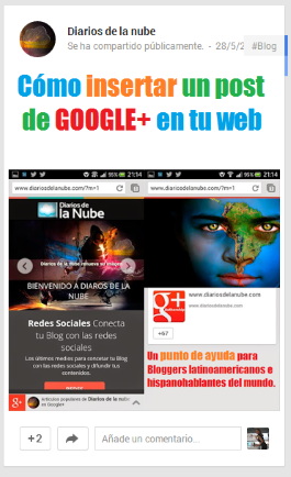 Portada embeber publicación Google+
